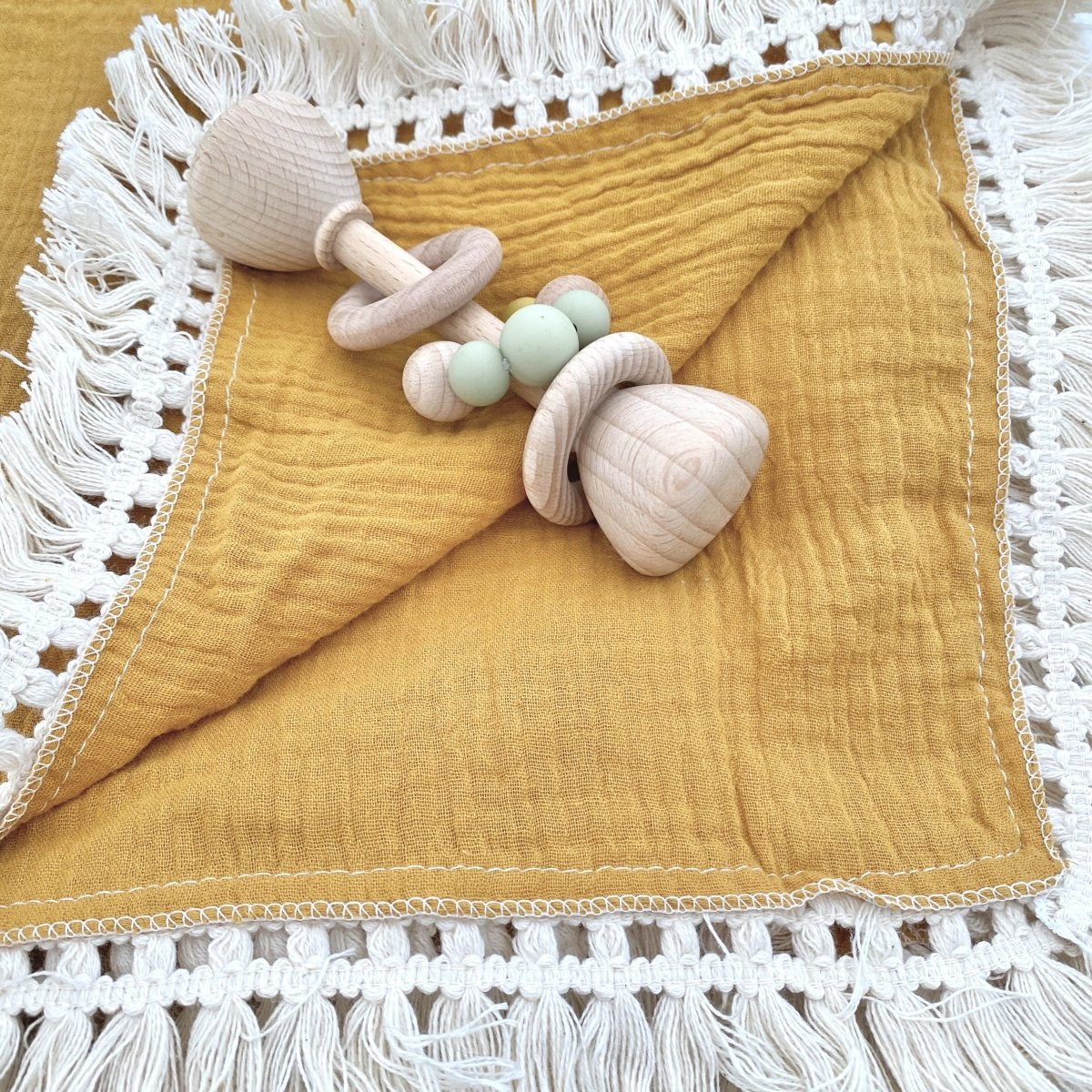 Double Layer Muslin Swaddle with Fringe - Mustard Yellow - Mama Kisses