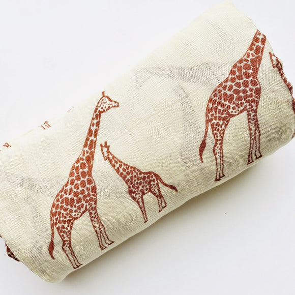 Mother & Baby Giraffe Bamboo & Cotton Blend Muslin Wrap - Mama Kisses