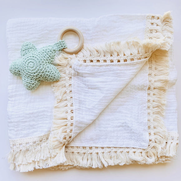 My First Christmas Star with Boho Muslin Swaddle with Fringe Set - Mama Kisses