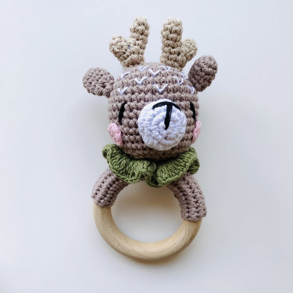 My First Reindeer Crochet Rattle - Mama Kisses