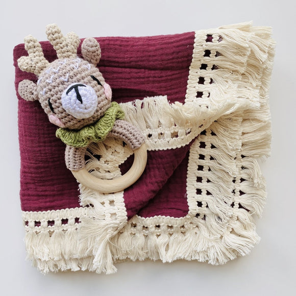 My First Reindeer Rattle and Red Boho Muslin Swaddle with Fringe Set - Mama Kisses