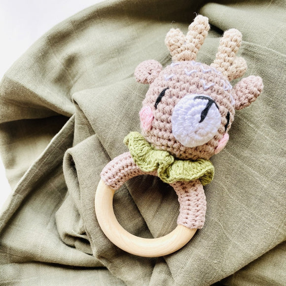 My First Reindeer Rattle with Olive Organic Muslin Wrap Set - Mama Kisses