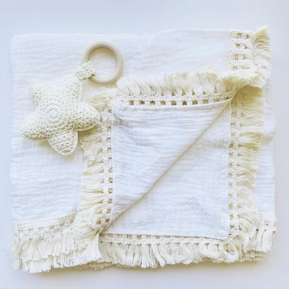 My First White Christmas Boho Muslin Swaddle Set - Mama Kisses