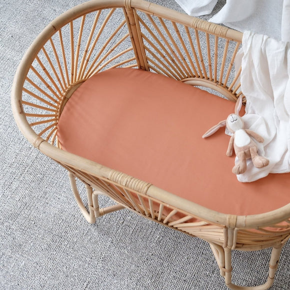 Organic Bamboo Bassinet Sheet - Rust - Mama Kisses