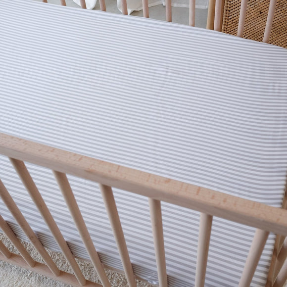 Organic Bamboo Cot Sheet - Fog Stripe - Mama Kisses
