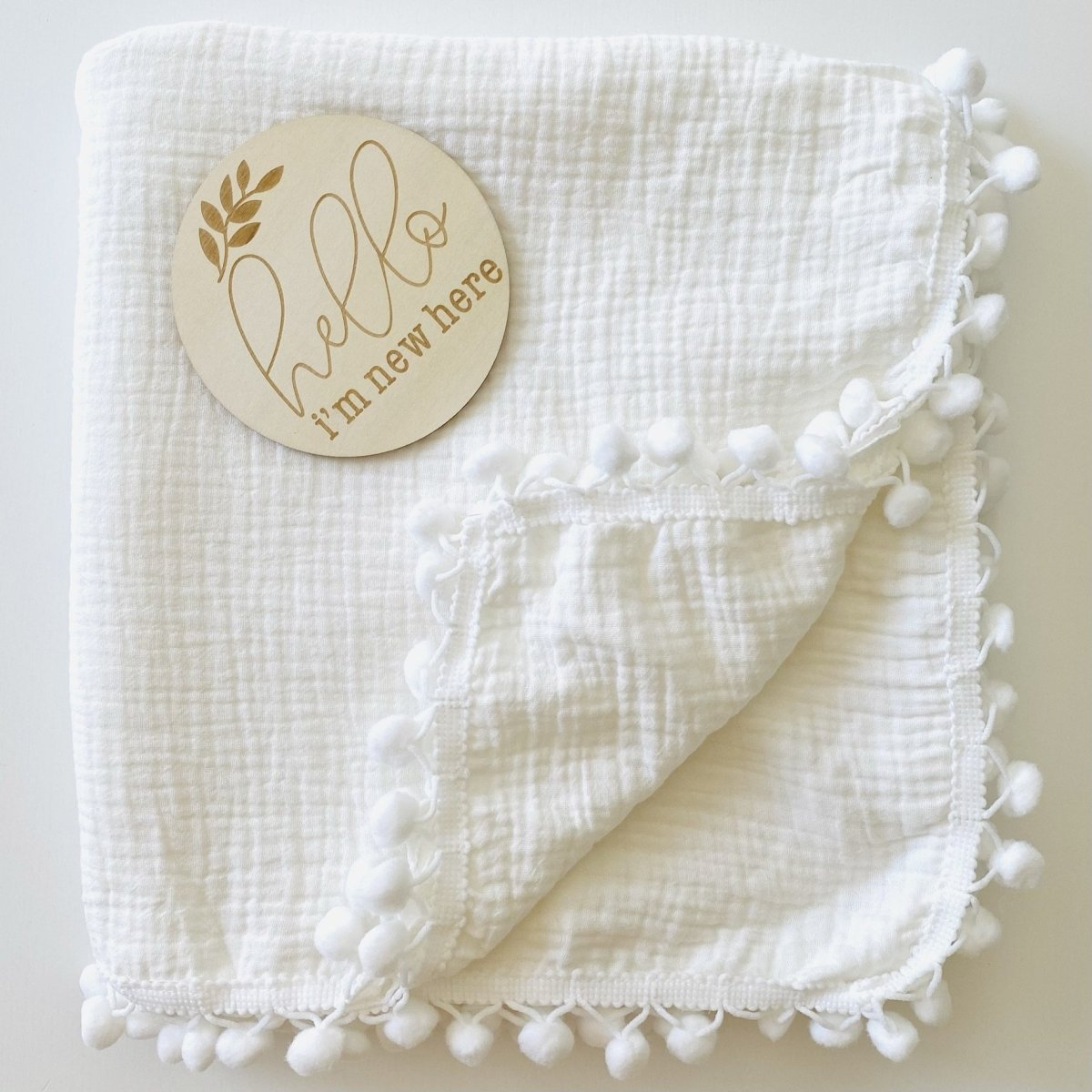Pom-Pom Fringe Double Layer Muslin Swaddle - Snow White - Mama Kisses