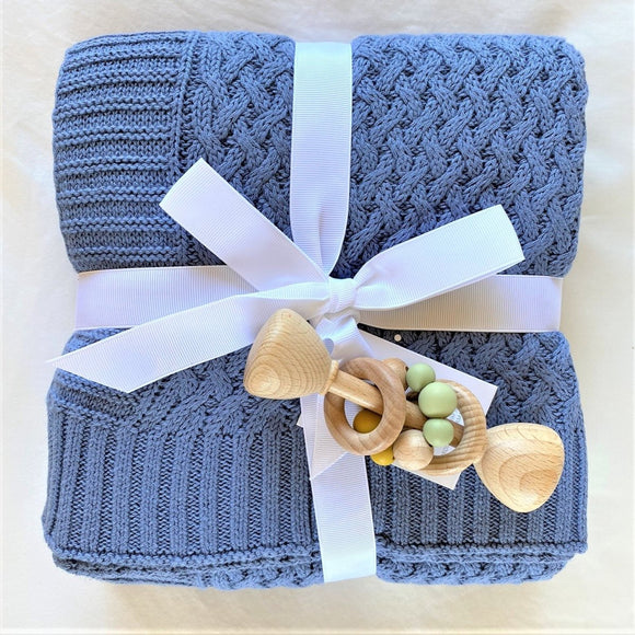 Snuggle Hunny Kids River Diamond Knit Baby Blanket - Mama Kisses