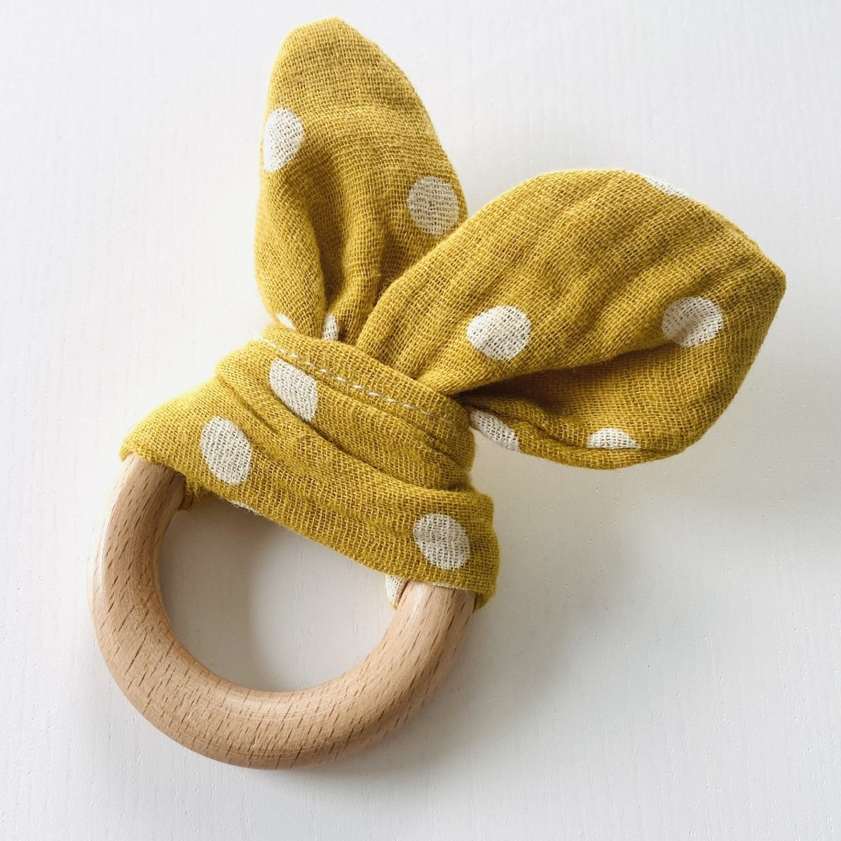 Wooden Baby Maraca with Sensory Ring- Mustard Yellow Polka Dots - Mama Kisses