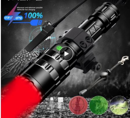 Tactical Red LED Flashlight USB Chargebale Waterproof Night