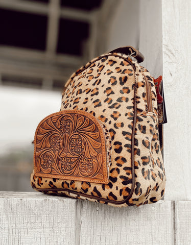 Leopard & Tooled Leather Backpack