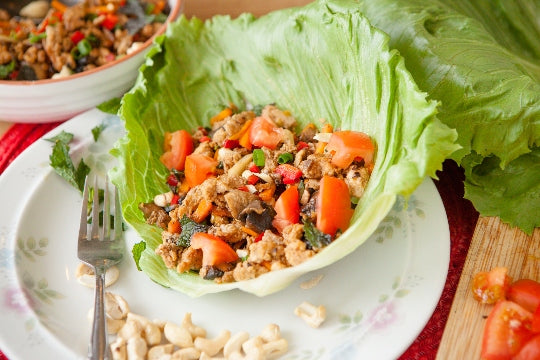 1. Thai chicken and mushroom larb in lettuce cups with cashew nuts