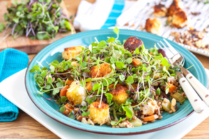 10. Lentil salad with crumbed feta, walnuts and shallot dressing