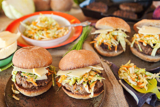 2. Juicy Havarti cheese burger with cabbage, chive and carrot slaw