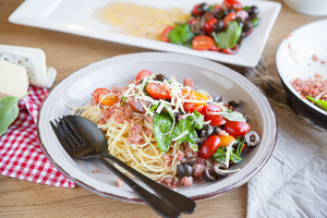 2. Summer pasta with bacon, shallot, cherry tomatoes and basil