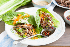 3. Asian beef and vegetable lettuce parcels with chilli-lime and honey-sesame dipping sauces