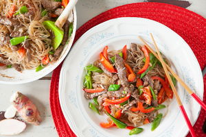 3. Lamb and glass noodle stir-fry with galangal and five spice