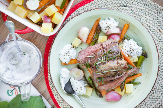 6. Rosemary butterflied lamb with roasted vegetables and tzatziki