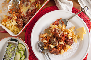7. Cheesy pasta bake with beef and vegetable meatballs