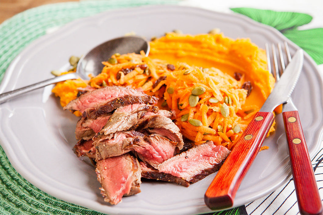 4. Steak on Kumara mash with Carrot, Raisin and Pumpkin seed salad