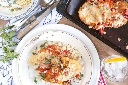 8. Chicken parmigiana with sundried tomatoes on cauliflower-rice