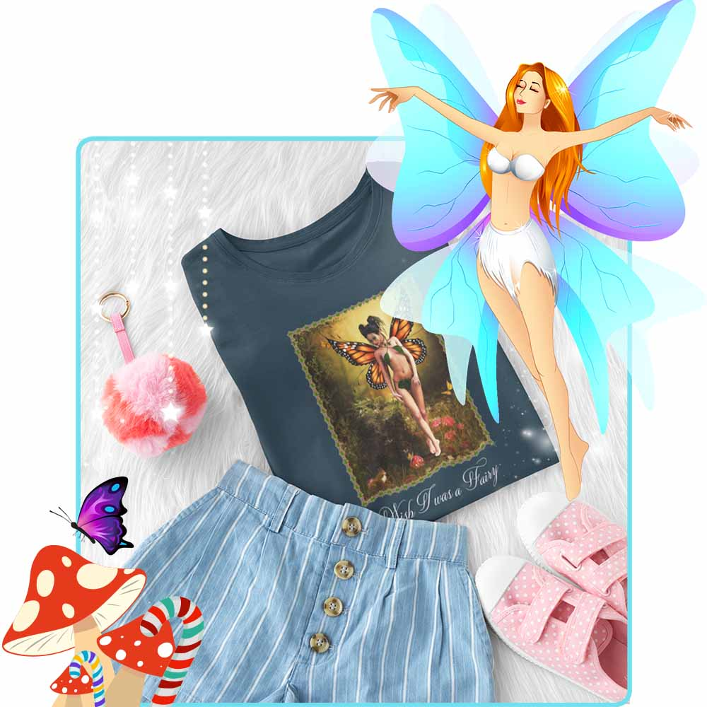 "A Woodland Stroll - ""Wish I was a Fairy"" - Girl's Princess Fairy T-shirt"