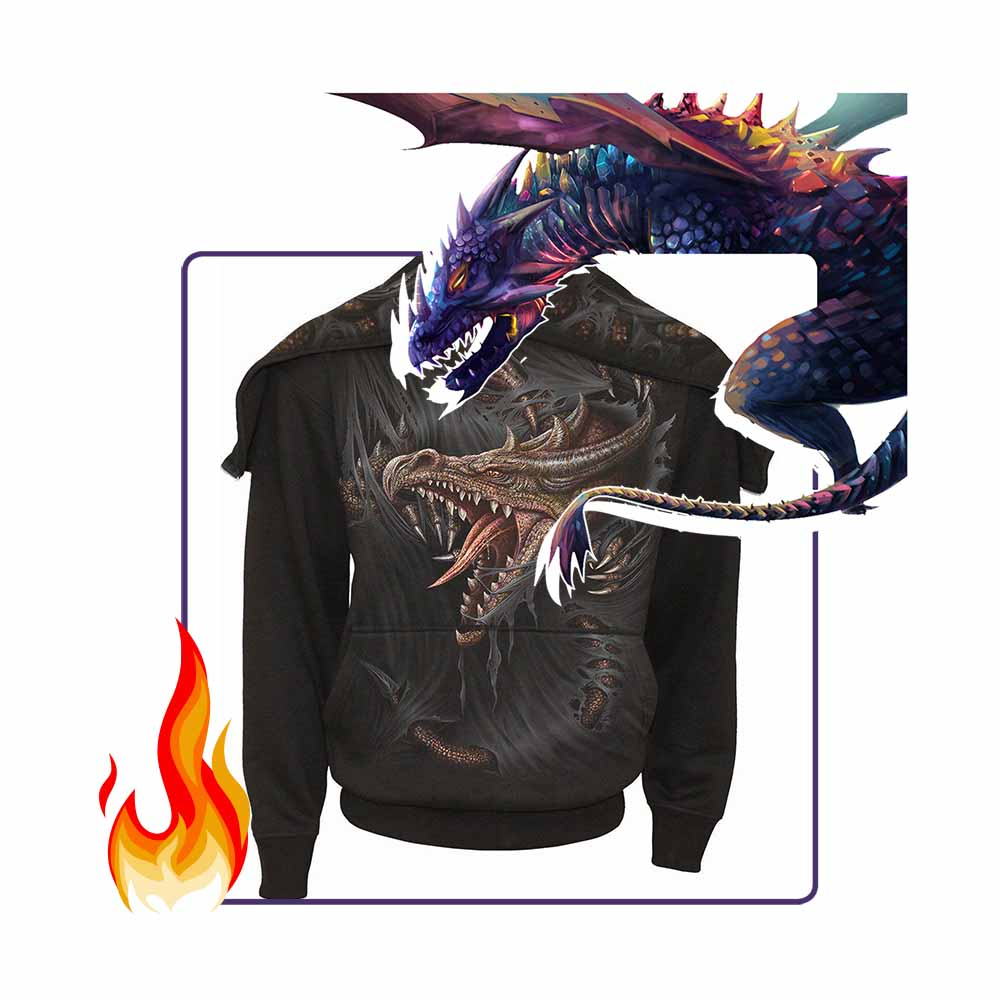 BREAKING OUT - Men's Dragon Split Zip Hoodie