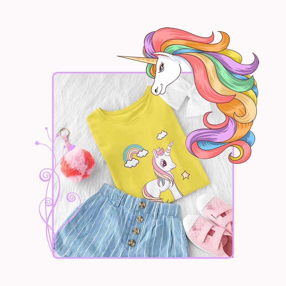 Billy Rainbow - Girl's Princess Unicorn T-shirt