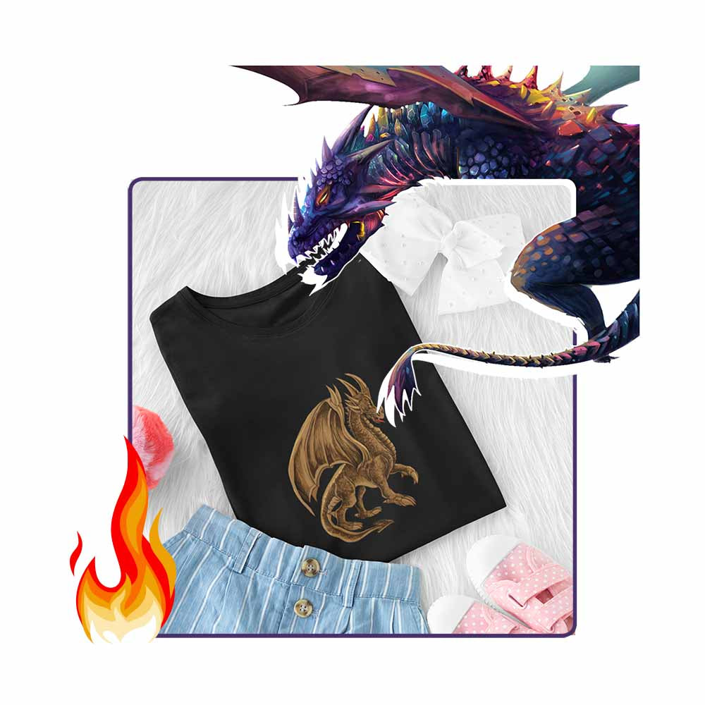 Drako The Dragon - Brown - Girl's Princess Dragon T-shirt
