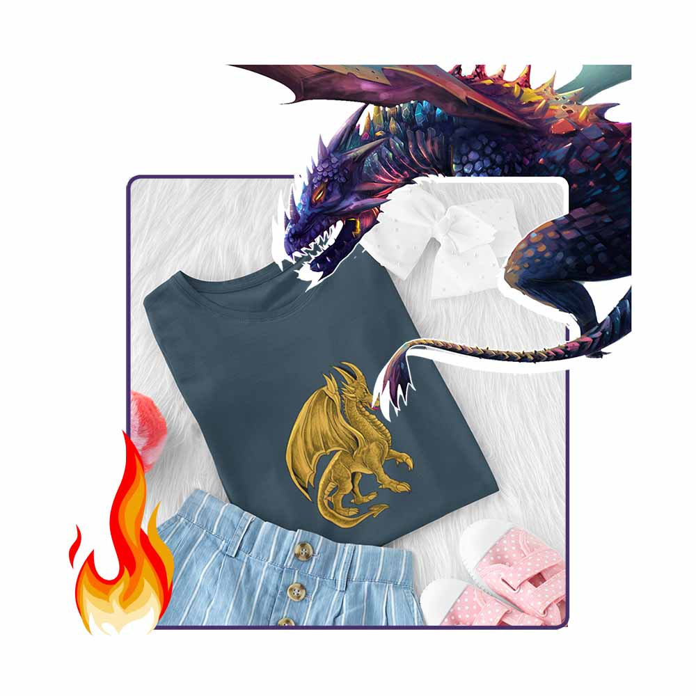 Drako The Dragon - Golden - Girl's Princess Dragon T-shirt