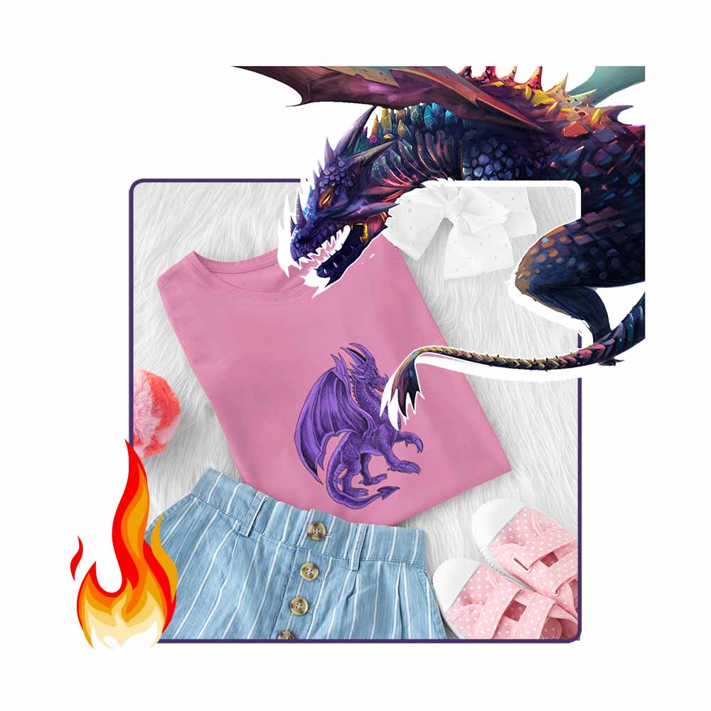 Drako The Dragon - Violet - Girl's Princess Dragon T-shirt