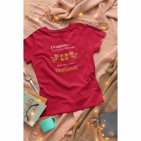 Dragons are a Girl's Best Friend - Women's Dragon T-shirt