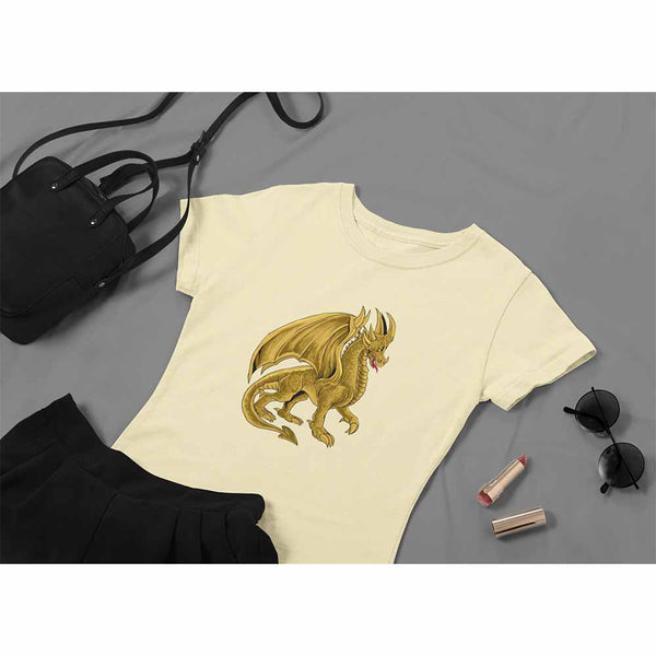 Drako The Dragon - Golden - Women's Dragon T-shirt