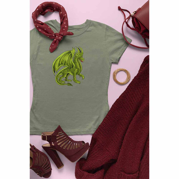 Drako The Dragon - Green - Women's Dragon T-shirt