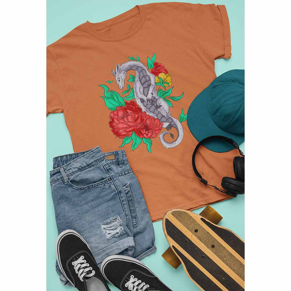 Flower Dragon - Unisex Dragon T-shirt