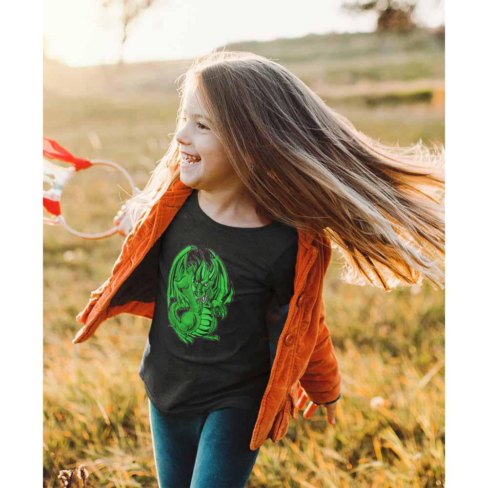Mogdor The Dragon - Green - Girl's Princess Dragon T-shirt