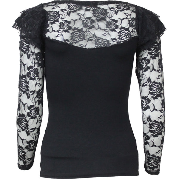 Gothic Elegance - Black Lace Layered Longsleeve Women's Top