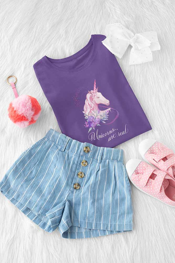 Unicorns Are Real - Girl's Princess Unicorn T-shirt