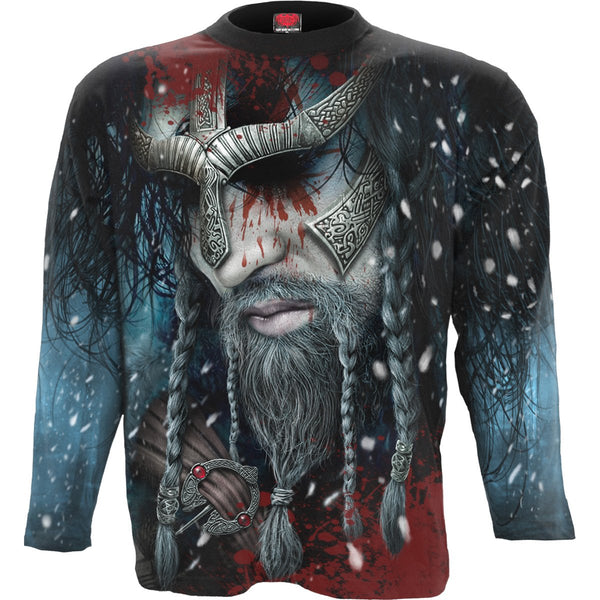 Valhalla Beckons - Black Longsleeve All-Over T-Shirt