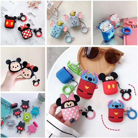 cute Mickey Wireless Bluetooth Earphone Case For Apple AirPods 2 Silicone Charging Headphones Case For Airpods Protective Cover