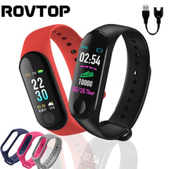 Rovtop Men Smart Watch M3 Plus Bracelet Wristband Heart Rate Monitor Blood Pressure Fitness Tracker Life Waterproof Smart Watch