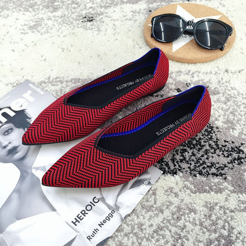 Women Flats Stretch Knitted Mixed Color Moccasins Breathable Cozy Work Shoes Brief Fashion Ladies Flats Light Driving Loafers