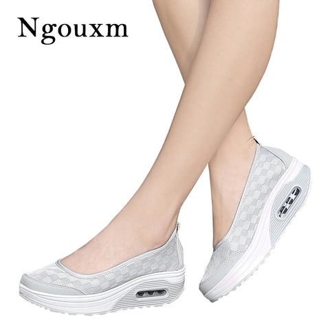 Ngouxm Summer Women Platform Shoes Woman lady Flat Casual Shallow Shoes Slip On Comfort Lace Black Fabric Shoes