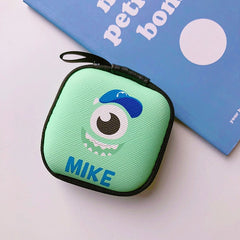 Cartoon Mini Zipper Hard Headphone Case Earphone Case Box Storage Bag Protective USB Cable Organizer Portable Earbud Accessories