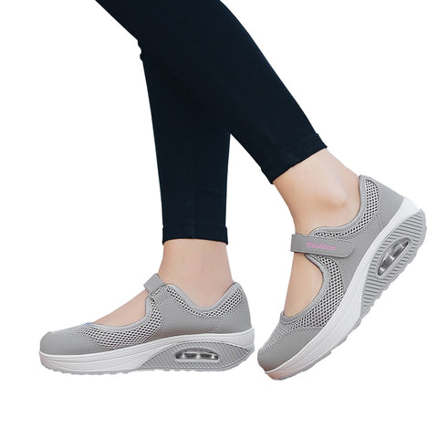 Summer Women Flat Platform Shoes Woman Casual Mesh Breathable Slip On Fabric Sneakers Shoes For Women Female Mary Jane Shoe