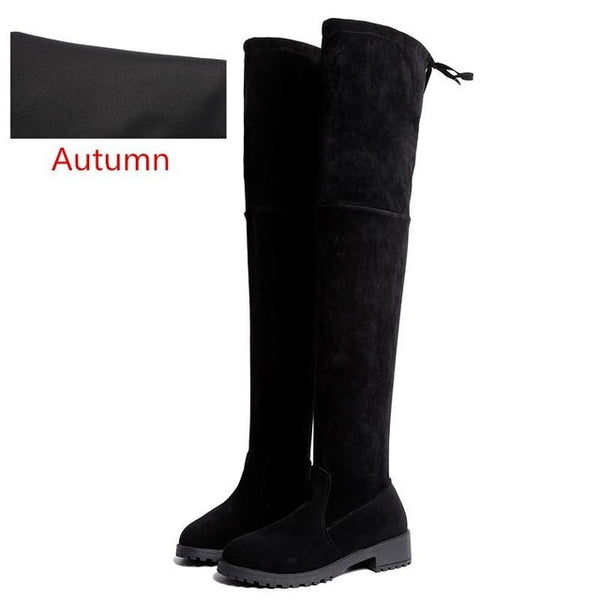 Size 35-41 Winter Over The Knee Boots Women Stretch Fabric Thigh High Sexy Woman Shoes Long Boot