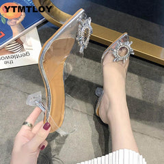 Luxury  Women Pumps 2020 Transparent High Heels Sexy Pointed Toe Slip-on Wedding Party Brand Fashion Shoes For Lady  PVC