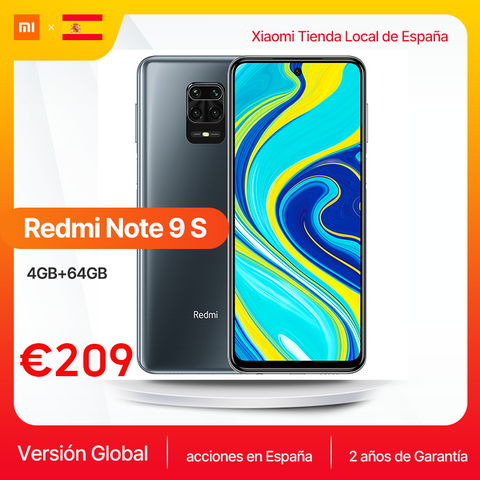 Global Version Xiaomi Redmi Note 9S 4GB 64GB Smartphone Note 9 S Qualcomm Snapdragon 720G 6.67'' FHD DotDisplay 5020mAh 48MP AI