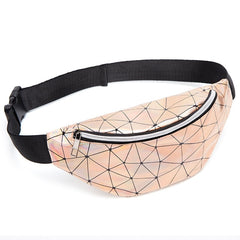 Women's Fashion Waist Packs Personalized Rock and Roll Color PU Leather Flashing Lattice Belt Bag Nerka Fanny Pack