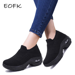 Fashion Spring and Autumn EOFK Platform Shoes for Women, Women Flat Shoes for Women, Black Thick Soled Shoes, Socks, Non-slip Dance Shoes
