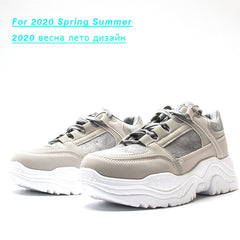 FUJIN Women Casual Sneakers Spring Autumn Sneakers Breathable Women Shoes Lace Up Female Boots Comrfortable Platform Shoes Women